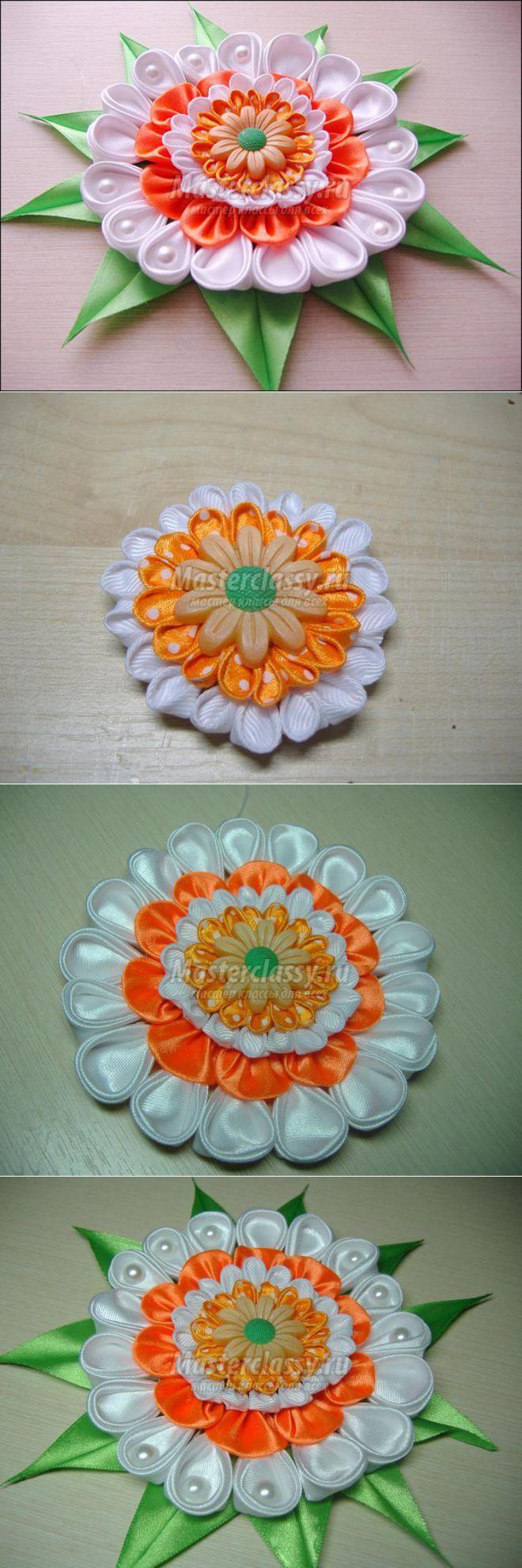 Оранжевый цветок в технике канзаши. Мастер-класс с пошаговыми фото
