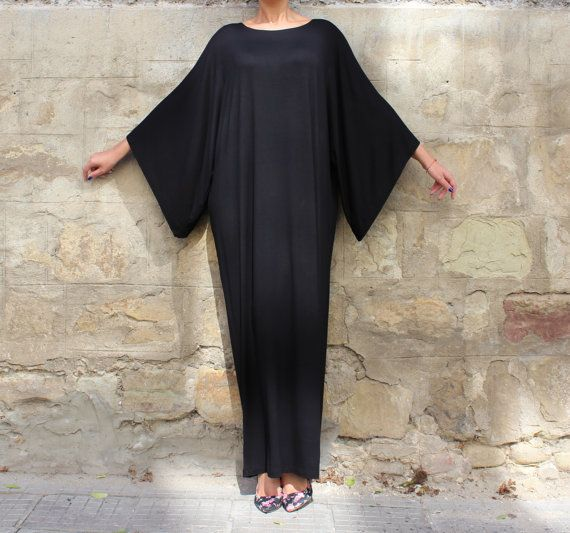 Black Maxi Dress Caftan Abaya Plus size by cherryblossomsdress