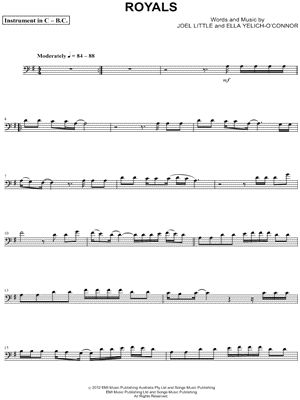 """Lorde """"Royals - Bass Clef Instrument"""" Sheet Music (Cello, Trombone, Bassoon, Baritone Horn or Double Bass) - Download & Print"""