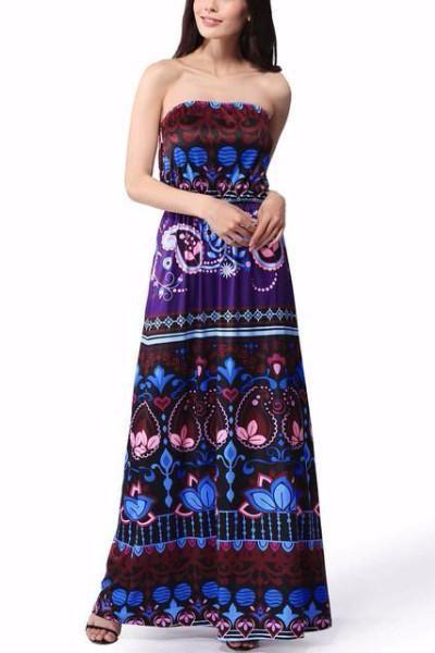 Boho Off Shoulder Maxi Sundress Tunic Loose Stapless Party Dresses