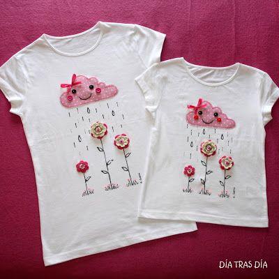 Camiseta decorada con flores y una graciosa nube