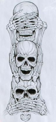 Dibujos de calaveras. Hear no evil, see no evil, speak no evil