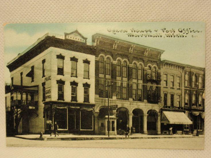 "Vintage Postcard ""Opera House Post Office Marshall Michigan"""