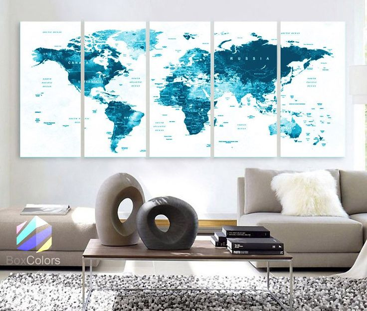 18 best world map images on pinterest world maps canvas prints xlarge 30x 70 5 panels 30x14 ea art canvas print gumiabroncs Choice Image