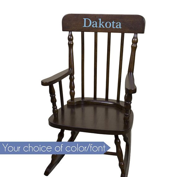 Personalized Child S Rocking Chair With Just Name Nursery Furniture Girl Boy Kids Custom Spindal Rocking Chairs Rocker Cherry Wood Spin Esp Rocking Chair Nursery Furniture Chair