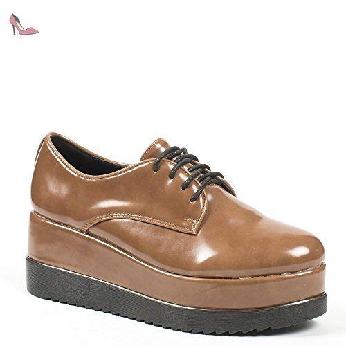 Classique Cuir Style Chaussures Derbies Pour Femme à Talonnettes Mona Noir41 mRSNb