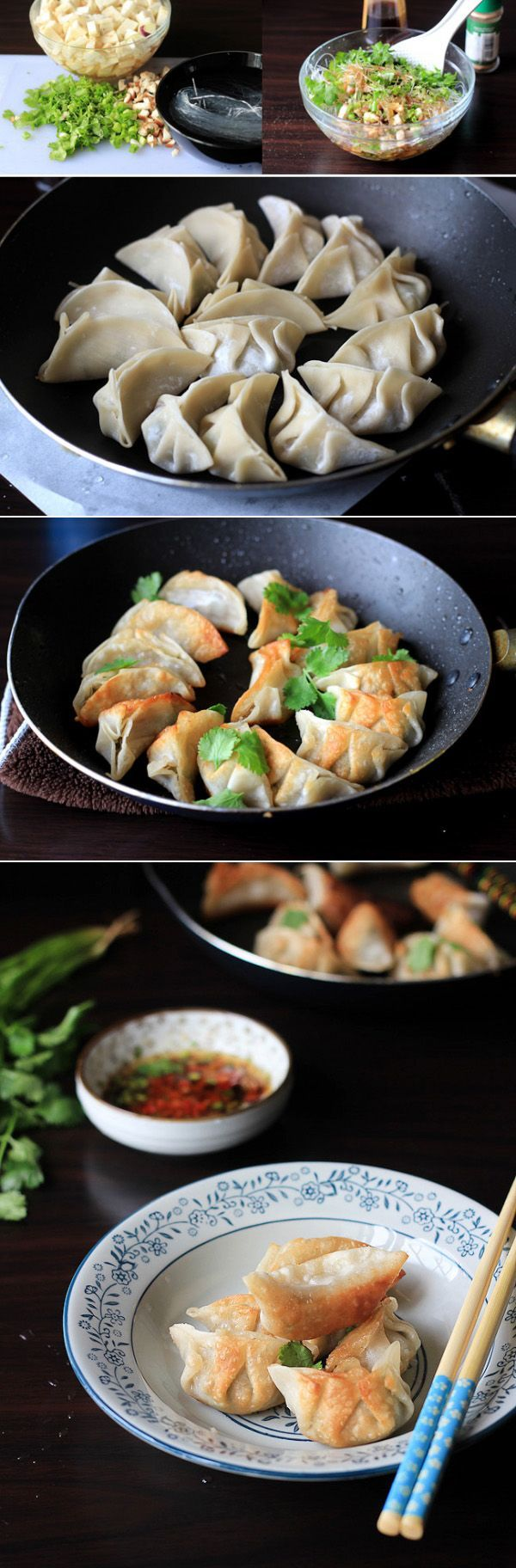 Vegan pot stickers with fried eggplants, mung bean noodles and mushrooms.