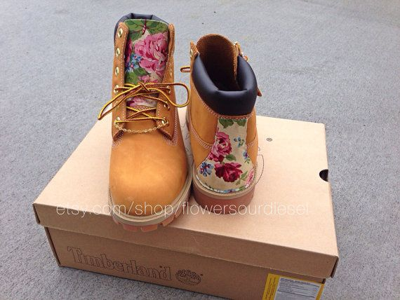 Floral Timberland Boots by FlowerSourDiesel on Etsy size 5