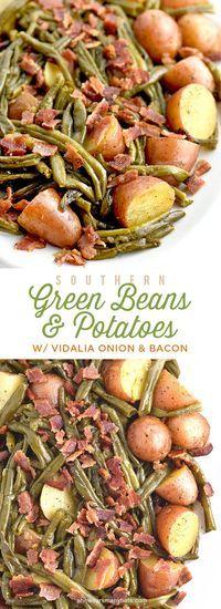 Southern Green Beans and Potatoes with Vidalia Onion and Bacon Recipe | shewearsmanyhats.com