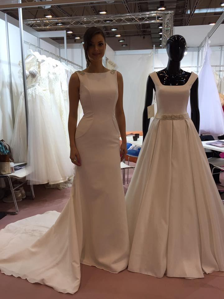 Priliehavé svadobné šaty s vlečkou