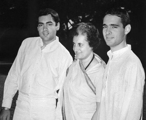Agence France-Presse — Getty Images: Rajiv Gandhi, left, with his mother Indira Gandhi, center, and younger brother Sanjay Gandhi in New Delhi on March 21, 1977.