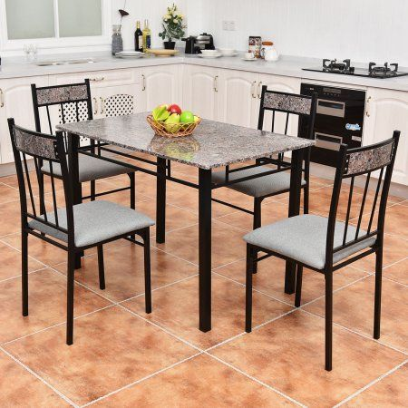 Costway 5 Piece Faux Marble Dining Set Table And 4 Chairs Kitchen Breakfast F