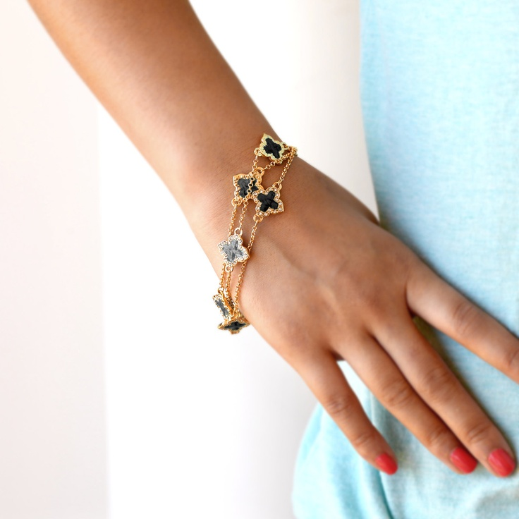 Gorgeous cubic zirconia clover bracelets inspired by Van Cleef and Arpels but for a fraction of the price. Only $19.99 at http://www.premiumcz.com/collections/bracelet/products/clover-bracelet-with-onyx-and-premium-cz   #premiumcz #cubiczirconia #designerinspired #vancleef #vancleefandarpels #bracelets #CZbracelet