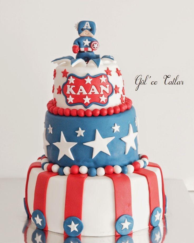 Gül'ce Tatlar: Captain America Temalı Doğum Günü Pastası ve Cupcakeleri