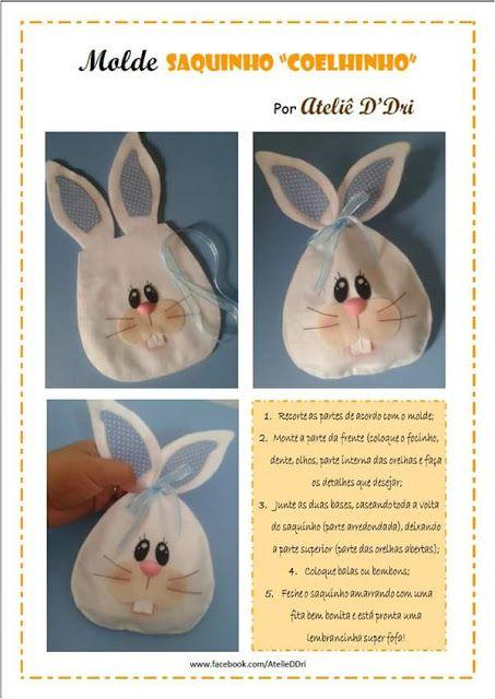 coelho em feltro, saquinhos chocolate em feltro, saquinhos de coelhinho em feltro, easter felt, bunny rabbit felt, parte 2