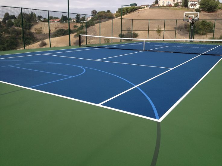 Like tennis like basketball why not have both check out for How much does a half court basketball court cost