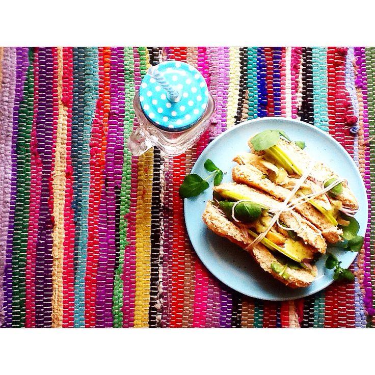 Waldorf sarmies w apple, celery leaves , warm rotisserie chicken and lime x coriander mayo