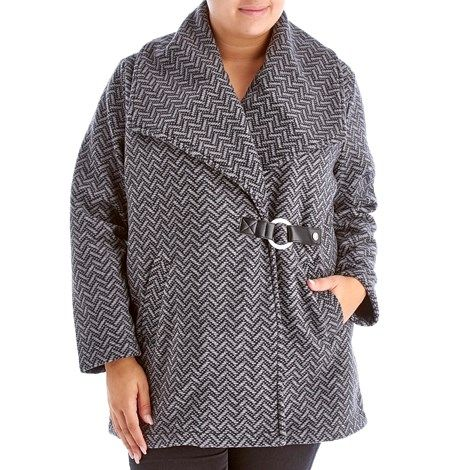 Plus Size Chevron Print Fleece Jacket with Faux Leather Buckle