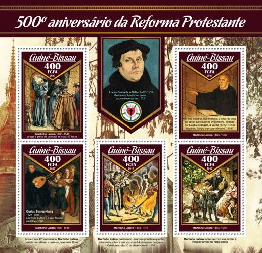 "GB17010a 500th anniversary of Reformation (Martin Luther (1483–1546) nails up his 95 theses on the cathedral door; One of the paintings comprising the altarpiece in the Wittenberg parish church, painted by Lucas Cranach the Elder (1472–1553); Gustav Spangenberg (1828–1891) ""Martin Luther and his family"" (detail), 1866)"