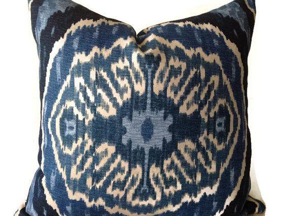 Pillows Blue Pillows Blue ikat Pillows Throw Pillows by DEKOWE