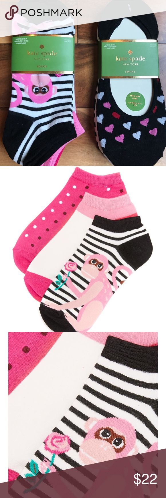 Kate Spade Womens Socks Lot of 2 Packs NWT! Kate Spade Womens Socks Lot of 2 Packs NWT! You will get to Packs each containing 3 pair of socks for a total of 6 pairs of socks! NEW  *A 3-pack of Kate Spade New York no-show socks with a cute monkey graphic and petite polka dots. Ribbed cuffs.  *A 3-pack of Kate Spade New York Non Slip Heel socks with hearts, plain white and black/white stripe. kate spade Accessories Hosiery & Socks