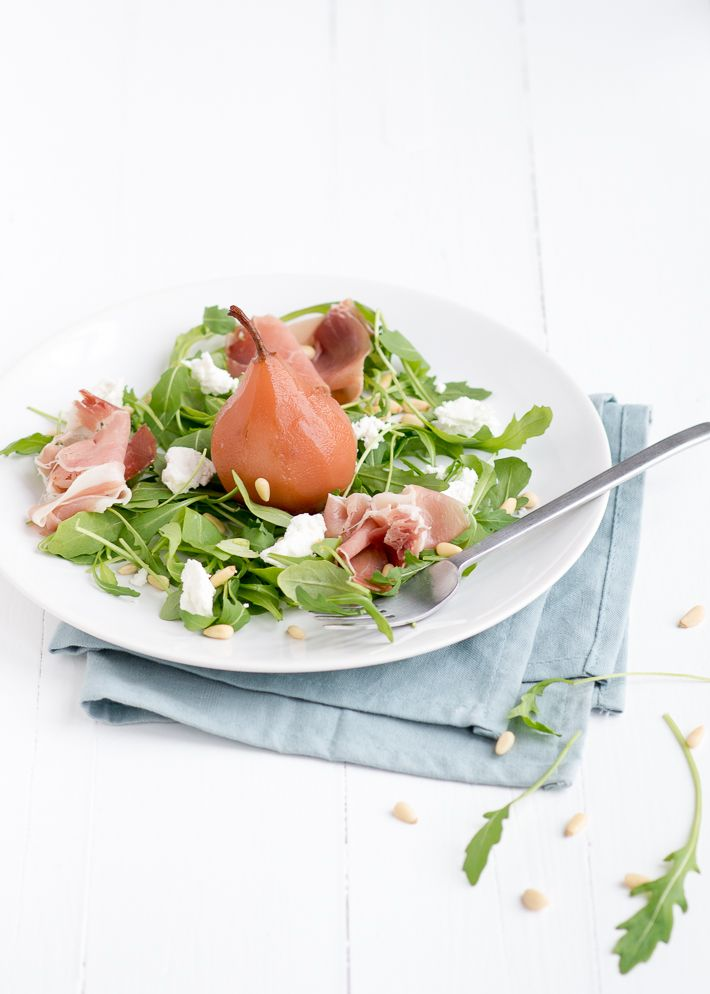 salad with stewed pear and goat cheese