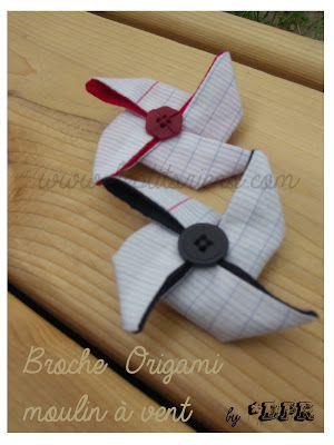 broche origami moulin à vent