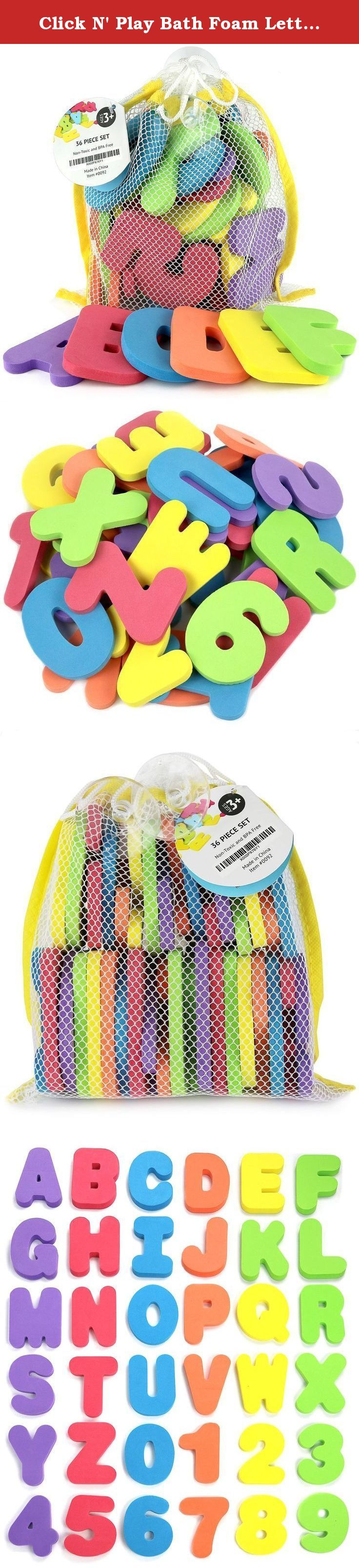 Click N' Play Bath Foam Letters & Numbers with Mesh Bath Toys Organizer, 36 Count. Luxury 36 Piece Foam Bath Letters and Numbers Set Plus Bath Mesh Toy Organizer. Parents now look for toys that are not only fun, but also aid in developing their child's learning skills and we all know kids love to learn so why not help them learn in the bath with this luxury 36 piece foam bath letters and numbers set. These luxury foam bath letters and numbers set now make bath time an enjoyable and…