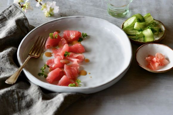 South Australian Tuna Sashimi with Lebanese Cucumber, Chervil and Lime - Maggie Beer