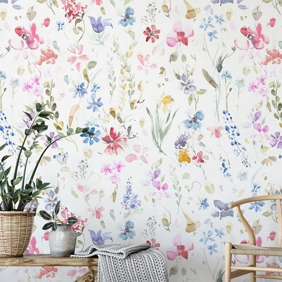 Hand Painted Watercolor Wallpaper Removable And Self Adhesive Etsy Watercolor Wallpaper Accent Wall Mural Wallpaper