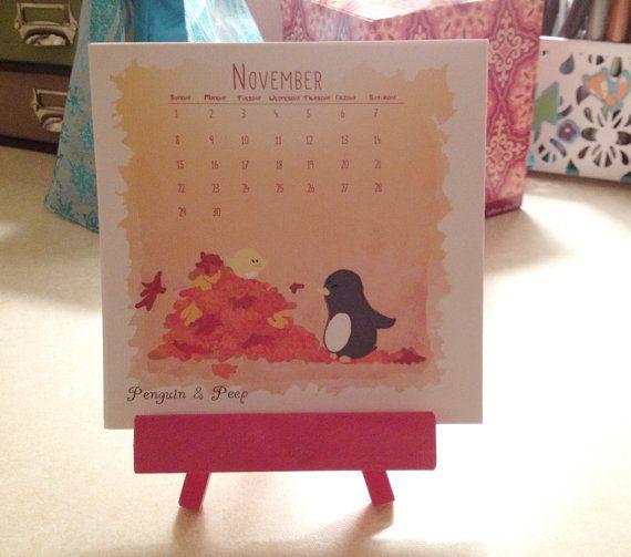 Penguin & Peep  2015 Mini Desktop Calendar by subarashii on Etsy