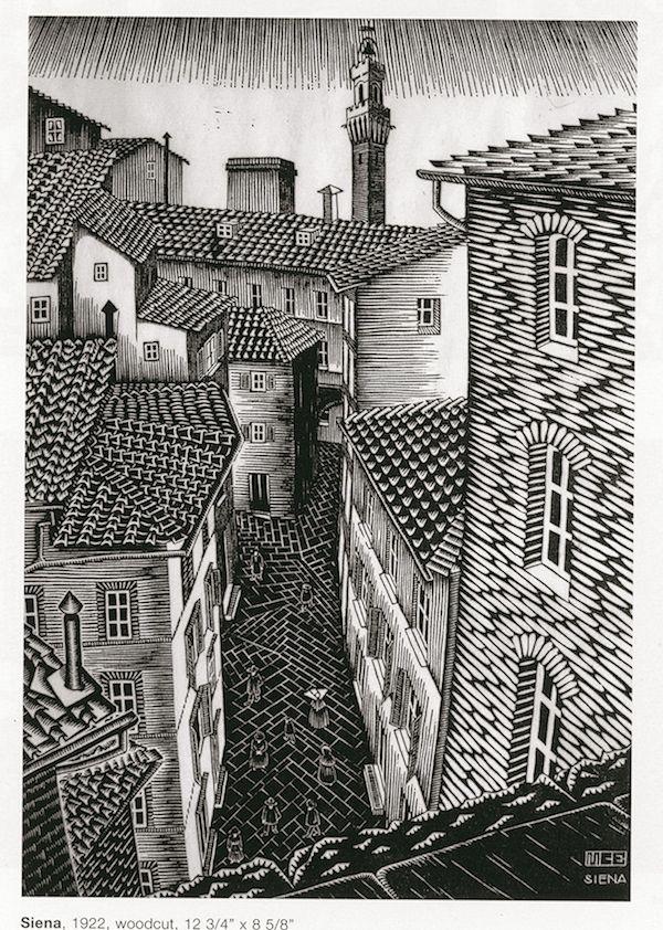 Maurits Cornelis Escher (Tetti di) Siena 1922 xilografia 323 x 219 mm Collezione Federico Giudiceandrea All M.C. Escher works © 2014 The M.C. Escher Company, La mostra di Escher a Roma - Il Post