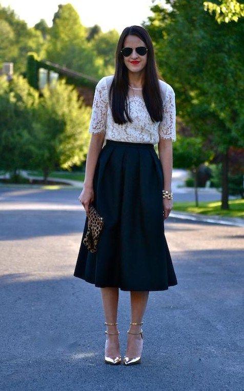 6 - classic black & white (Topshop lace top + Tibi skirt + J Crew gold metallic heels + Clare Vivier clutch) <<<Pink Avenue