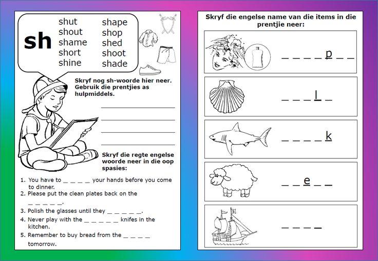 sh - woorde werkkaart, Grondslagfase. Aflaaibare, volledige dokument beskikbaar op Teacha.  https://teachingresources.co.za/vendors/komma-leer-en-leessentrum/