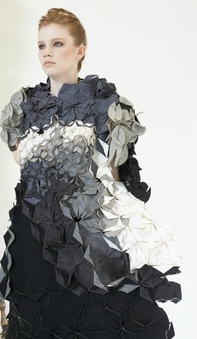 Creative use of Fabric Manipulation for fashion design - 3D origami inspired folded surface pattern //  Eunsuk Hur #textiles