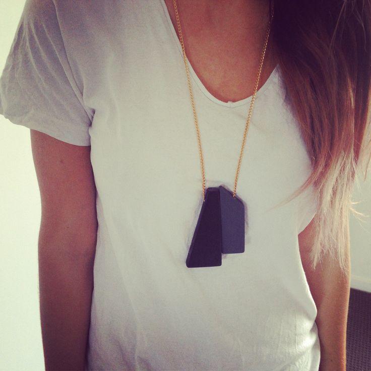 #wood #necklace #handmade #jigsaw #grey #black #tonal #fashion #style