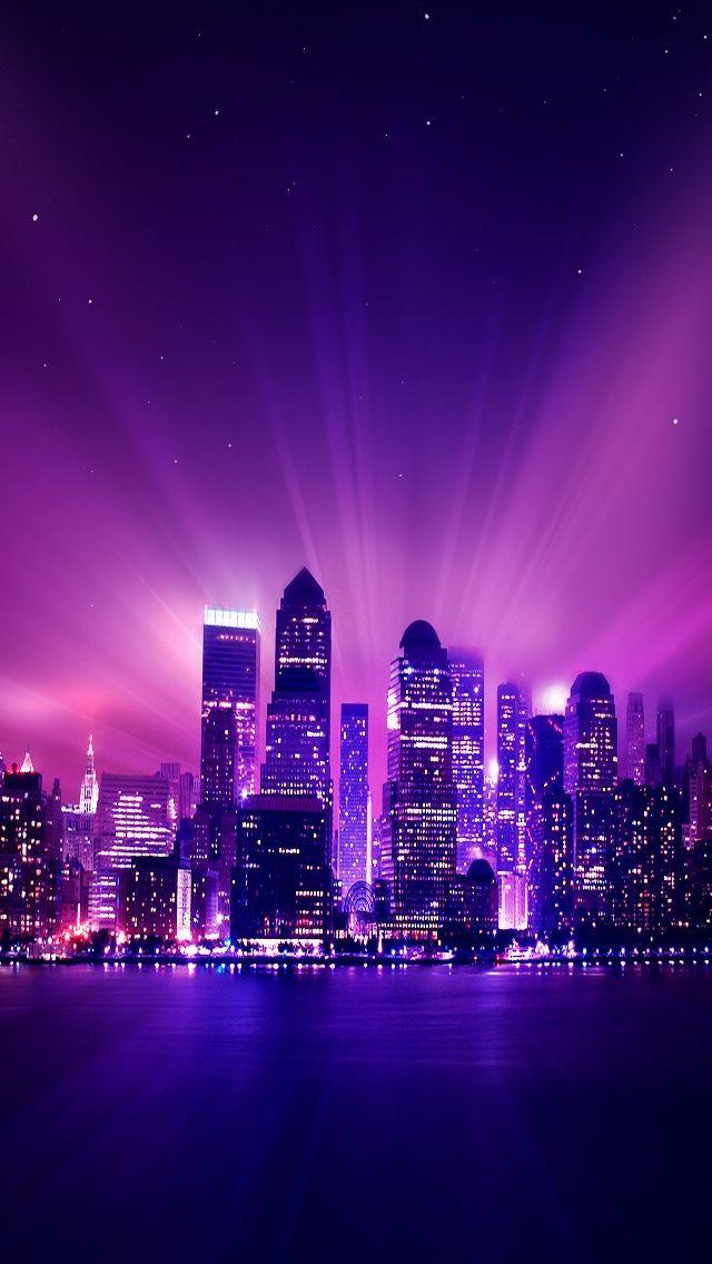 Shine Purple City Night #iPhone #5s #Wallpaper