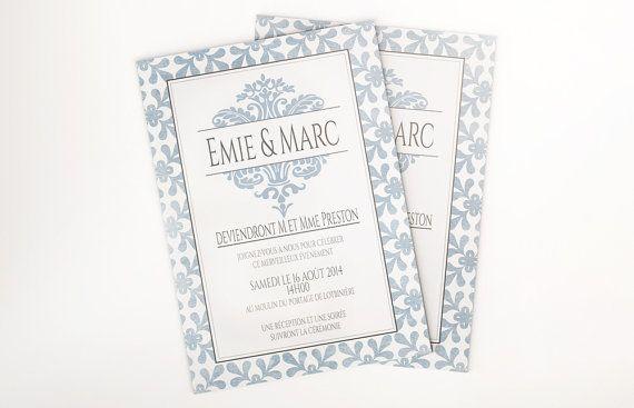 Printable wedding invitation, elegant wedding invitation, traditional wedding invitations, shabby chic wedding, wedding invites #OBercailDesign