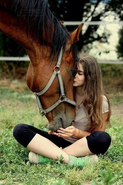 cute girl with horse