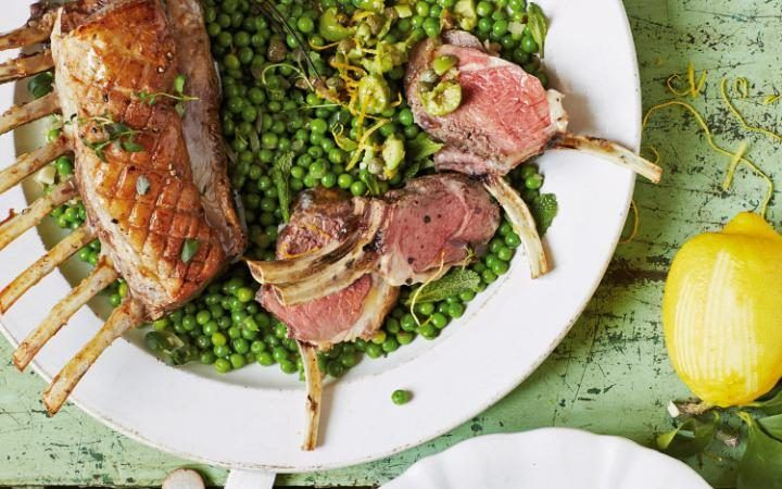 Jose Pizarro's roast rack of lamb with braised peas and lemon-thyme salsa