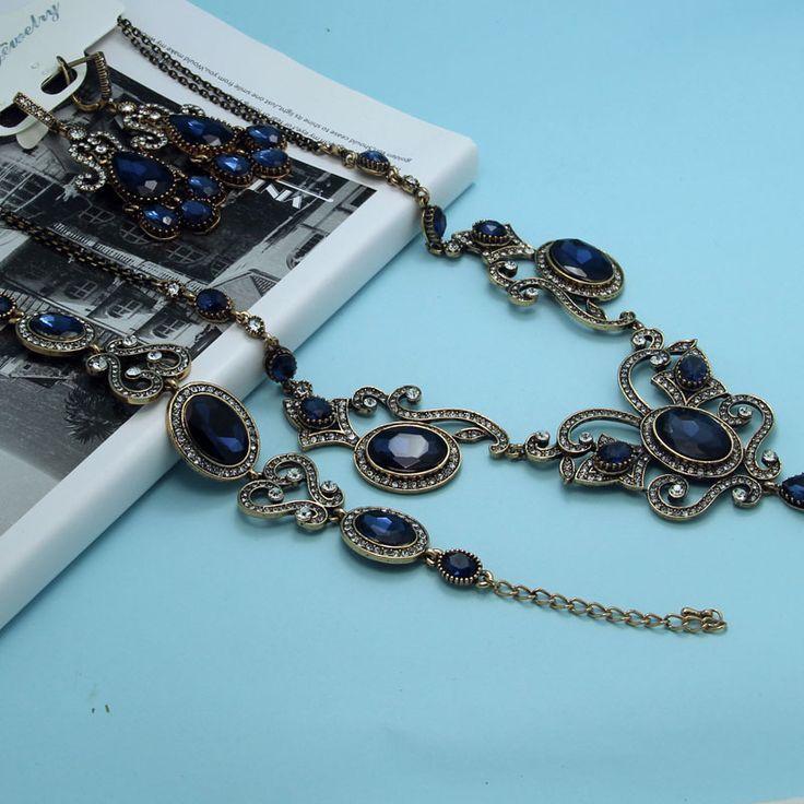 Очень высокое качество турецкий колье прекрасно наборов женщины свадьба ювелирных блестящий сапфир синий ювелирные изделия класса люкс старинные колье уши