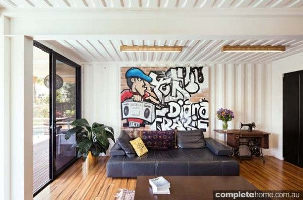 Shipping container walls and ceiling look amazing!