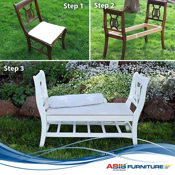 Two broken chairs are not worth throwing when you can create a masterpiece from it.Follow these simple steps to make your own personal garden bench. #DIY #Furniture