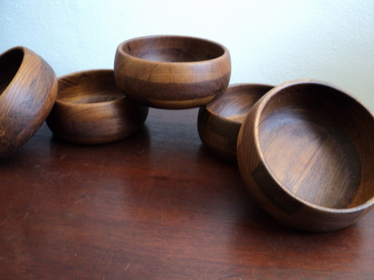 set of 5 teak wood midcentury bowls ernest sohn. $28.00, via Etsy.
