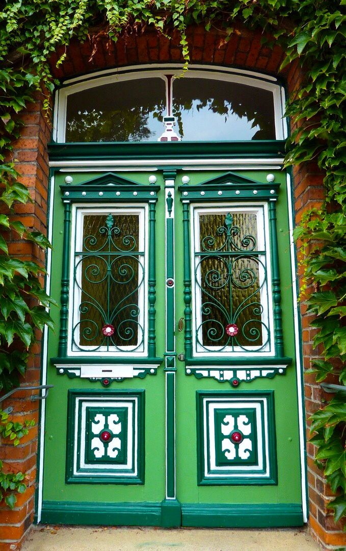 Green, white and red door in Germany.  Looks very festive!
