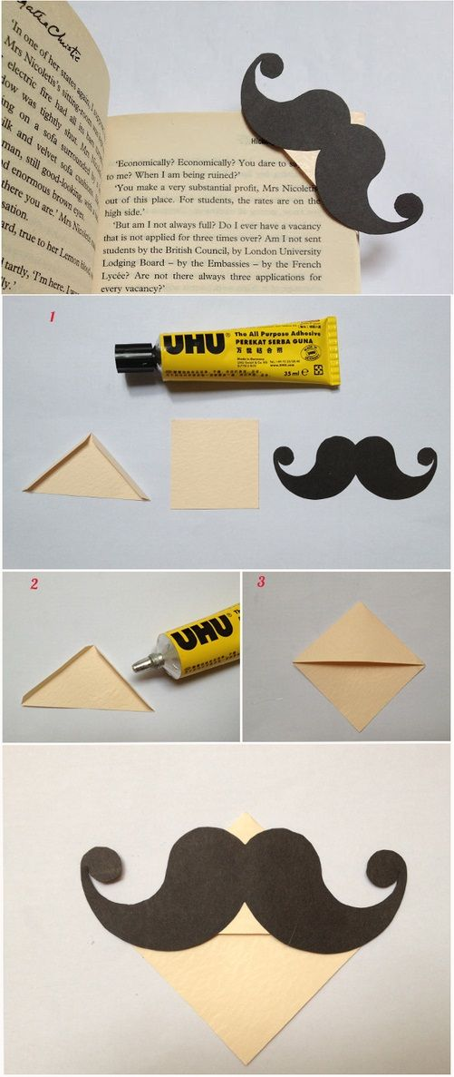 DIY Mustache Bookmark Tutorial