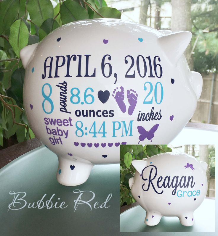 Personalized Piggy Bank, Custom Baby Birth Stats Gift, Baby Girl Piggy Bank…