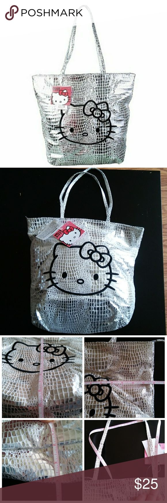 Hello kitty metallic silver tote New with tag. Its a metalkic silver color medium size tote bag. No trades or Pp thanks Hello Kitty Bags Totes