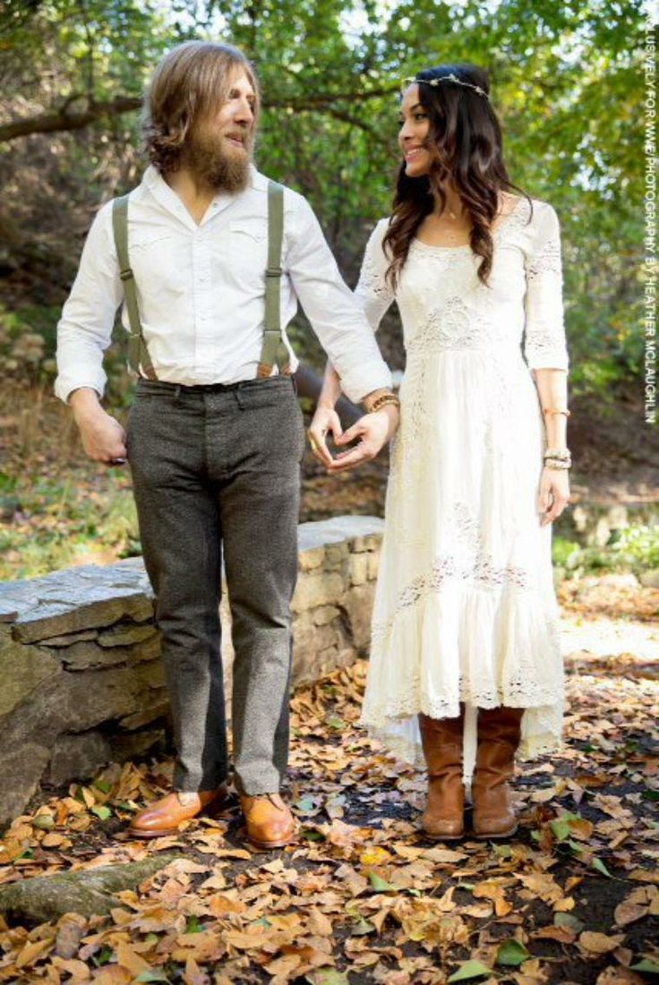Daniel Bryan and Brie Bella engagement photo. Love both the outfits.
