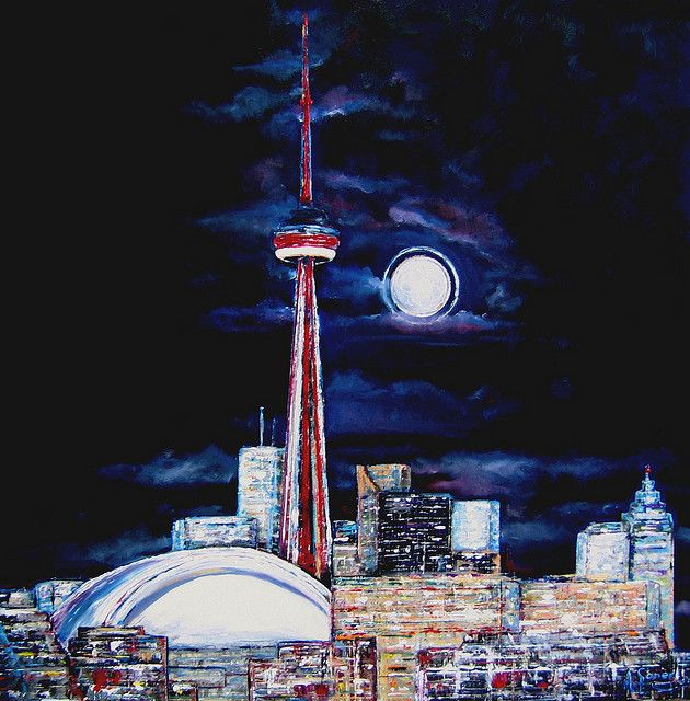 Toronto CN Tower, Night View - oil painting by Anna Sponer | Flickr - Photo Sharing!